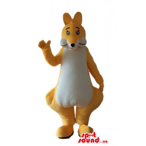 Happy Yellow Star Plush Mascot With A Logo Dressed In Sports Shoes