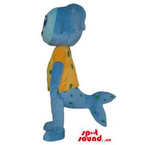 Cute blue sea monster in...