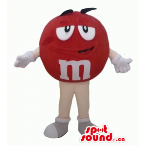 Happy male red M&M's  Candy Mascot with white gloves and shoes