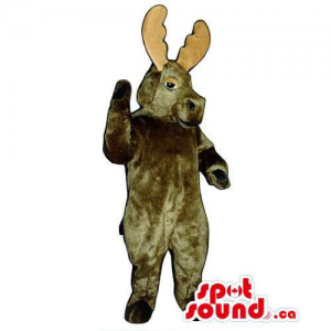 All Dark Brown Moose Animal Mascot With Beige Horns