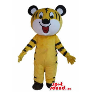 Yellow funny Tiger  Mascot...