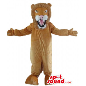 Ferocious brown Lion Mascot...