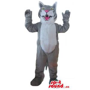 Happy gray Tiger Mascot...