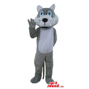 Gray and white happy Wolf Mascot costume wild animal fancy dress