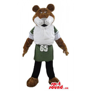Sporty brown Bear Mascot...