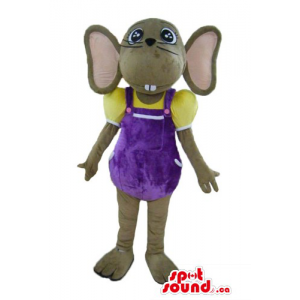 Funny Mouse Mascot purple suit costume wild animal fancy dress