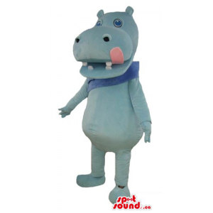Cute blue Hippo Mascot...