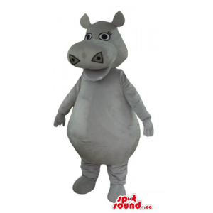 Cute gray Hippo Mascot...