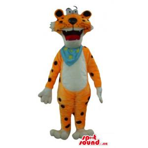 Happy Tiger blue scarf Mascot costume wild animal fancy dress