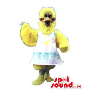 Yellow Chicken Or Hen Mascot Dressed In A White Apron