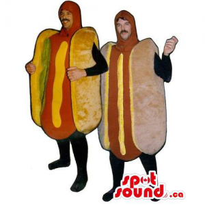 Couple Hot Dog Mascot Or...
