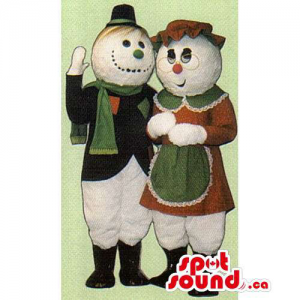 Snowman Mascot Couple...