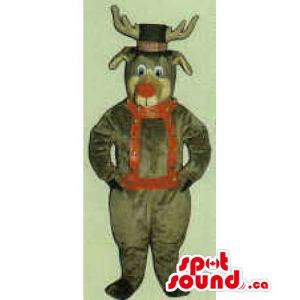 All Brown Reindeer Mascot...