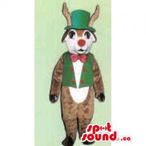 Reindeer Mascot Dressed In...