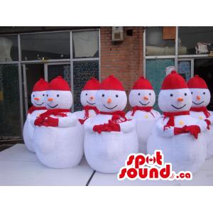 Seven Snowmen Mascots...