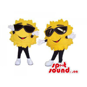 Yellow Sun Couple Mascots...