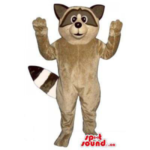Brown Raccoon Animal Plush Mascot With Striped Tail