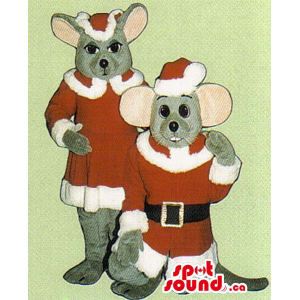 Grey Mice Couple Mascots...