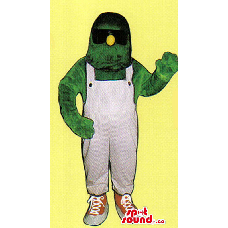 Green Monster Mascot With A...