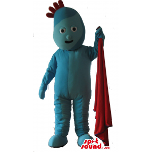 Blue Plush Mascot With Red...