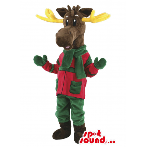 Brown Reindeer Animal Mascot With Winter Green And Red Gear