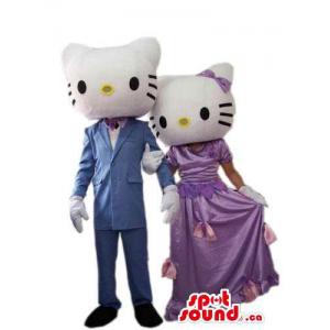 Kitty Cat Couple mascote de...