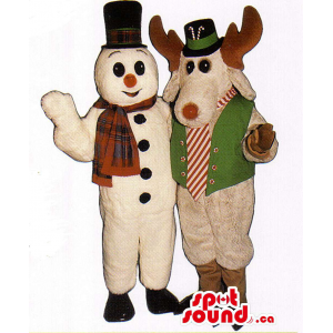 White Snowman And Reindeer...
