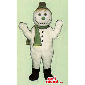 Snowman Mascot Dressed In A...