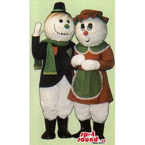 Snowman Couple Mascot...