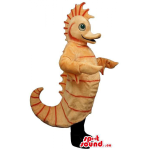 Customised Light Orange Plush Seahorse Mascot With Curled Tail