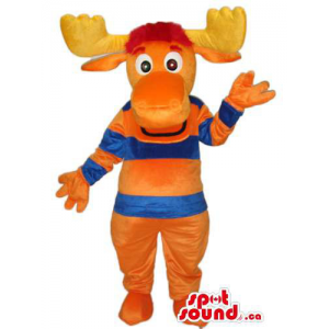 Orange Moose Animal Mascot...