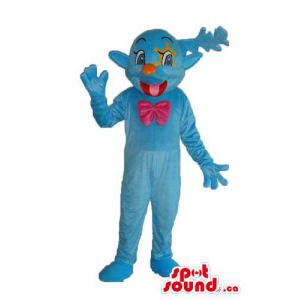 Cute Blue Mascot With A...
