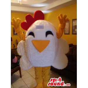 Cartoon Peculiar White Hen...