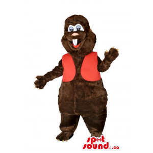 Customised Brown Beaver Animal Mascot With Red Vest