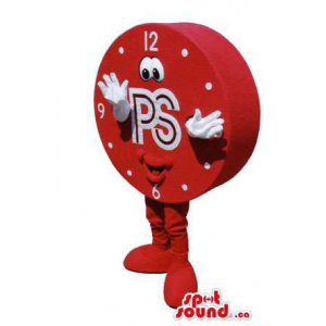 Great Red Clock Mascot With...