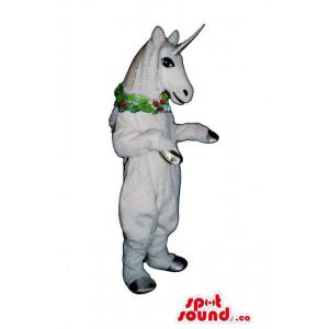 White Unicorn Mascot With A...