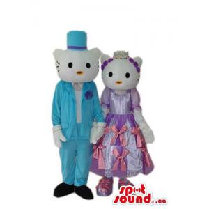 Kitty Cat Couple Mascot...