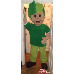 Boy Mascot With Green Gear...