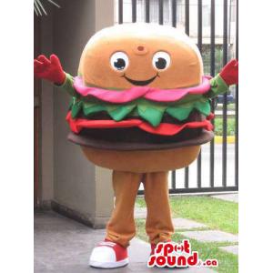 Large Hamburger Food Mascot...