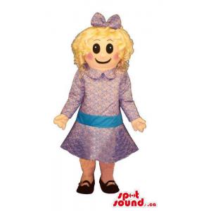 Blond Girl Mascot Dressed...