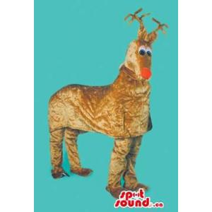 Brown Reindeer Mascot On...