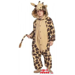 Cute Brown And Beige Giraffe Children Size Plush Costume