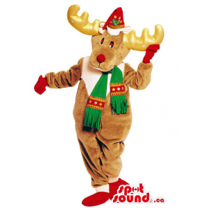 Brown Reindeer Animal Mascot Dressed In A Red And Green Scarf