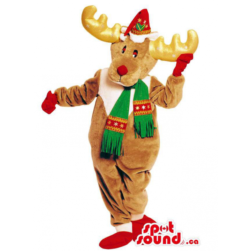 Brown rena mascote animal...