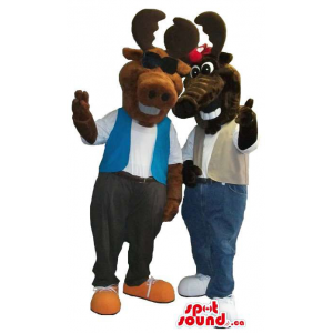 Moose Plush Mascot Couple...