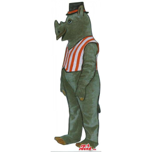Grey Rhinoceros Plush Mascot In A Striped Vest And A Hat