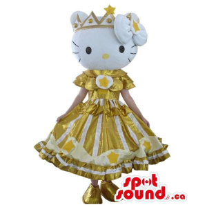 Well-Known Kitty Character Plush Mascot Dressed In A Golden Dress