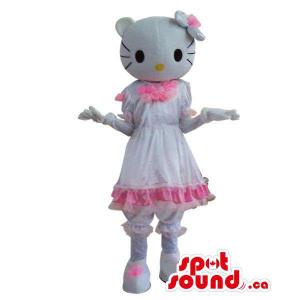 Kitty Character Plush Mascot With A Shinny White Dress