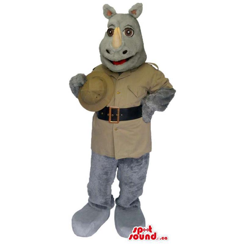 Grey Rhinoceros Mascot...