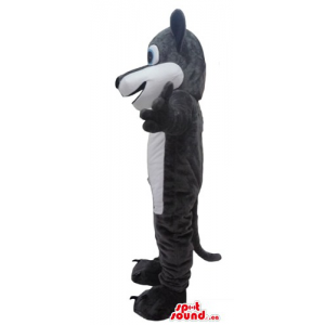 Grey wolf cartoon character...